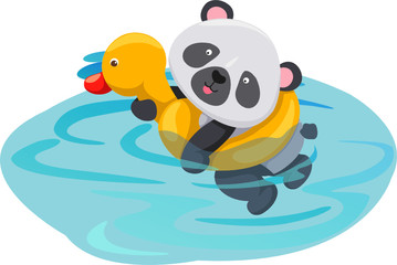 Foto auf Acrylglas Fluss, See panda swimming with duck tube