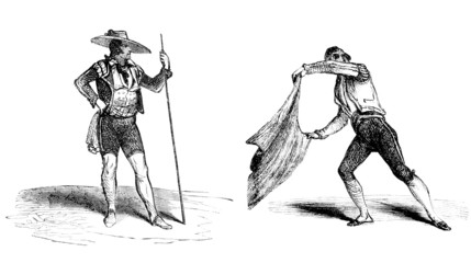 Foto auf Leinwand Stierkampf Corrida : Torero & Picador - 19th century