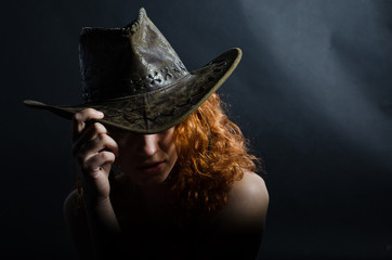 Girl in cowboy hat