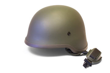 Military combat kevlar helmet with chin strap isolated on white