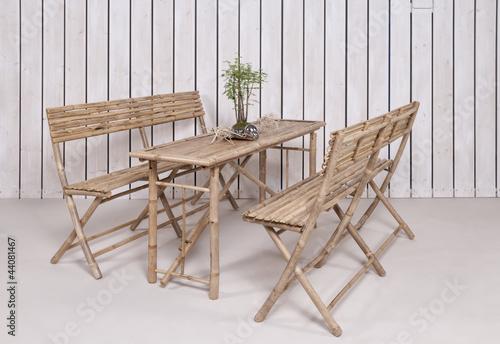 Bambus Gartenmobel 2 Banke 1 Tisch Bierzeltgarnitur Asiatisc