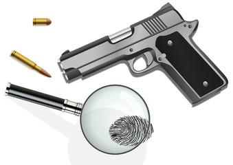 Crime, empreinte pistolet loupe