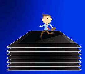 Businessman running on tablet background