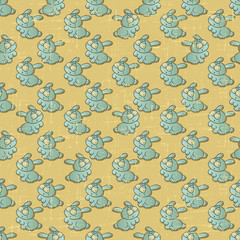 Wall Mural - Vintage vector seamless pattern with cartoon rabbits.