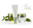 green cosmetic bottles