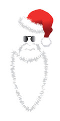 Red Santa Claus Hat, beard and glasses.