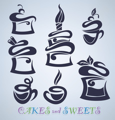 vector collection of cakes, sweets and drinks silhouettes