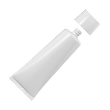 Tube for cream, toothpaste or glue on a white background