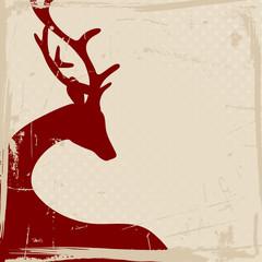 Reindeer Red Retro Beige Background