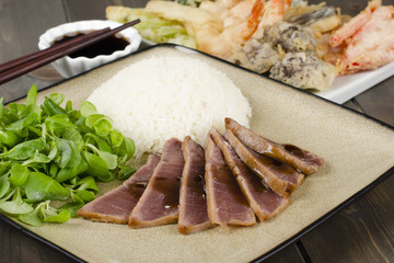 Teriyaki Tuna - Marinated seared tuna with rice, tempura and dip