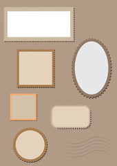 Blank postage stamps  collection isolated. Vector