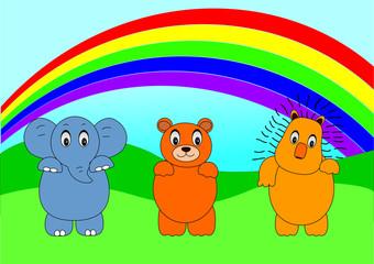 Deurstickers Regenboog animal cartoon