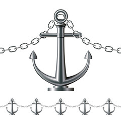 Seamless steel fence featuring an anchor