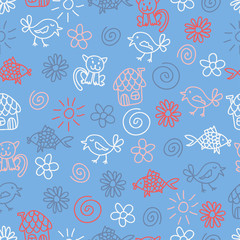 Fantasy childlike seamless pattern