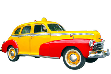 1942 Vintage taxi cab isolated on white