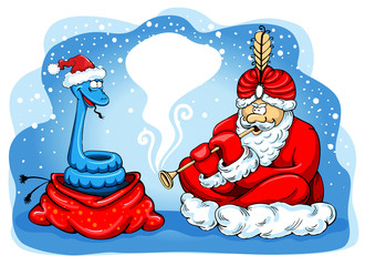 Snake charmer Santa
