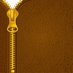 Zipper on the leather material