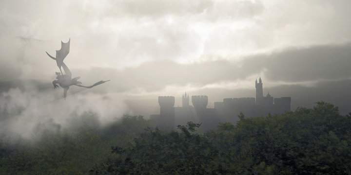 Dragon Flying Over a Misty Fantasy Forest