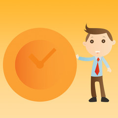 Businessman with clock on yellow background