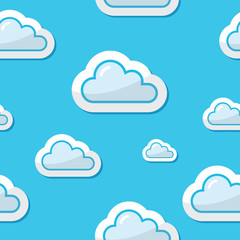 Poster Hemel Seamless clouds on blue sky background, pattern