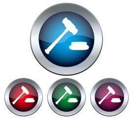 Set of buttons with the image of a judge hammer