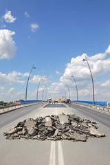 Roadworks at bridge and road Novi Sad Serbia