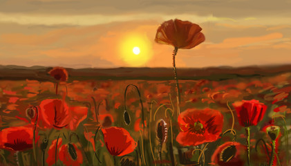 Wall Mural - Field of poppies - illustration
