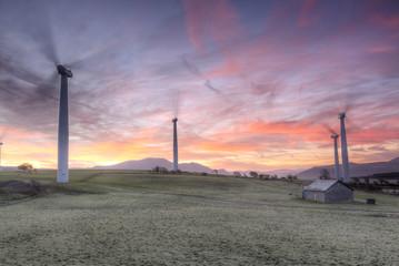 Winter Wind Turbine Sunrise