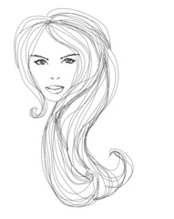 Abstract Beautiful Woman doodle Portrait