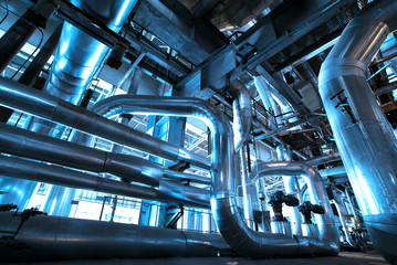 Fotobehang Industrial geb. Equipment, cables and piping as found inside of industrial powe