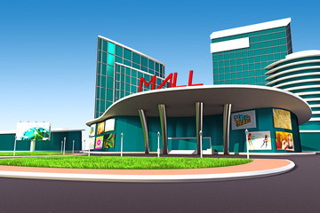 3d illustration of mall exterior model with road