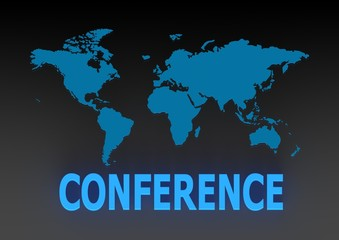 Global Conference with a World Map
