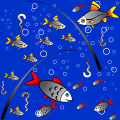 Seamless colorful background of fishing