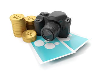 3d Illustration: Business technology. Earning money in the photo