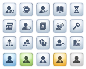 Users web icons on buttons. Color series.