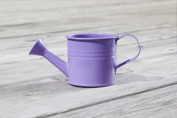 Watering can on the wooden floor