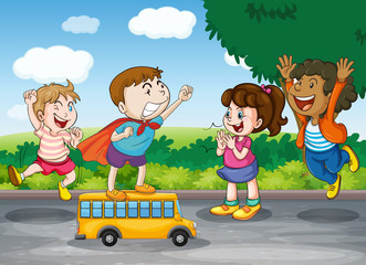 kids and toy bus