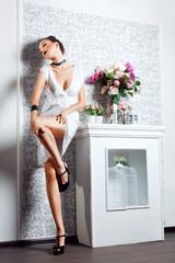 fashion woman in white dress