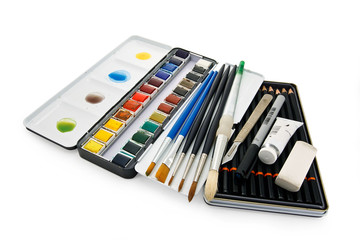 watercolor paint equipment clipping path