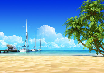 Marina pier and palms on empty idyllic tropical sand beach.