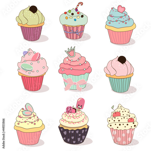 Illustration of isolated set of cupcake on white fichier vectoriel libre de droits sur la - Cupcakes dessin ...