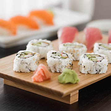 sushi - platter with california roll