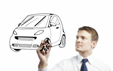 man drawing car