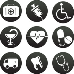 collection of medical themed icons , black and white illustraion