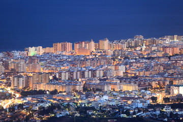 Fotomurales - Aerial view of Fuengirola at night. Andalusia Spain