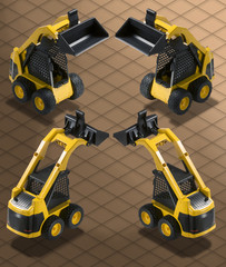 Isometric Bobcat Bulldozer isolated with Clipping path