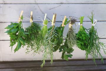 Verschiedene Kräutersträuße aus dem eigenen Garten