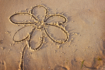 Flower drawn in the sand/Sea background with a sand