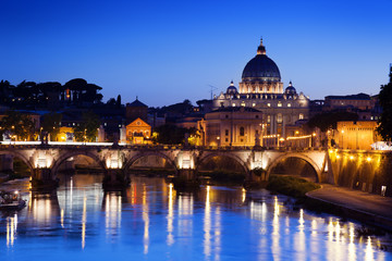 Poster de jardin Rome Sant' Angelo Bridge and Basilica of St. Peter in Rome, Italy