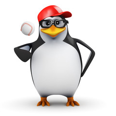 3d Penguin is pitcher in a game of Baseball